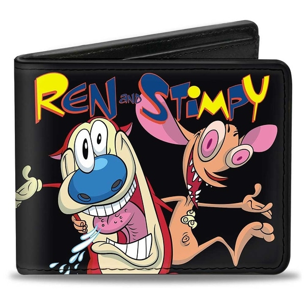 Ren And Stimpy Buddy Pose Black Bi Fold Wallet - One Size Fits most