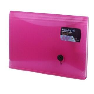 Unique Bargains Fuchsia Plastic Cover 13 Slots Paper Document File Holder Organizer Bag