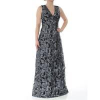 CALVIN KLEIN Womens Black Floral Sleeveless V Neck Full-Length Evening Dress  Size: 2