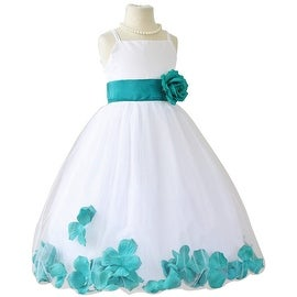 Flower Girl Dresses Rose Petal Wallao White (Baby - 14) Teal