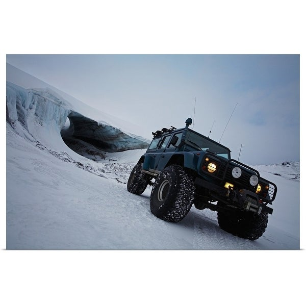 """""""Jeep driving on snow-covered glacier"""" Poster Print"""