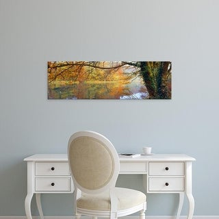 Easy Art Prints Panoramic Image 'Reflection of autumn trees in canal, Stroud, Gloucestershire, England' Canvas Art