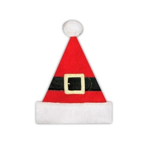 """14"""" Red Christmas Santa Hat with Belt, Buckle and White Faux Fur Brim - Medium Adult Size"""