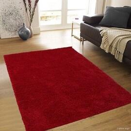 "Allstar Red Dense High Pile Posh Shaggy Area Rugs, Textured Frieze, Soft, Comfortable, Modern & Contemporary (5' 0"" x 7' 0"")"