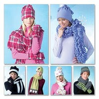 Misses' Hats, Scarves and Convertible Mittens-All Sizes in One Envelope -*SEWING PATTERN*
