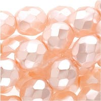 Czech Fire Polished Glass Beads 8mm Round Full Pearlized - Light Rose (25)
