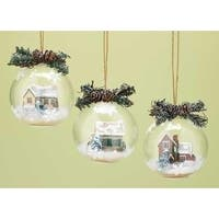 "4.25"" Country Cobblestone Cottage Winter Scene with Twig & Pine Cone Christmas Ball Ornament - green"