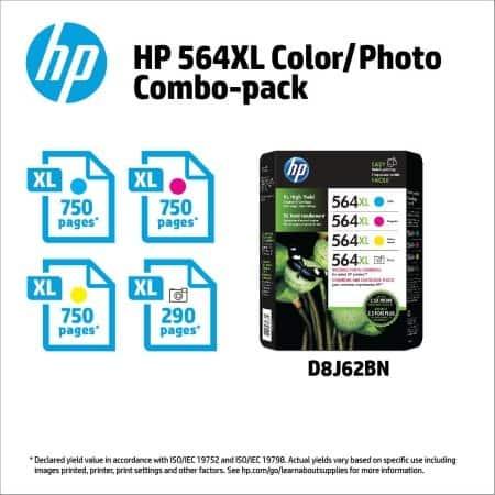 HP 564XL High Yield Ink Cyan/Magenta/Yellow/Photo Cartridges 4 pk.