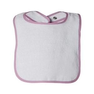 Rabbit Skins Infant Contrast Trim Terry Bib - Pink - One Size