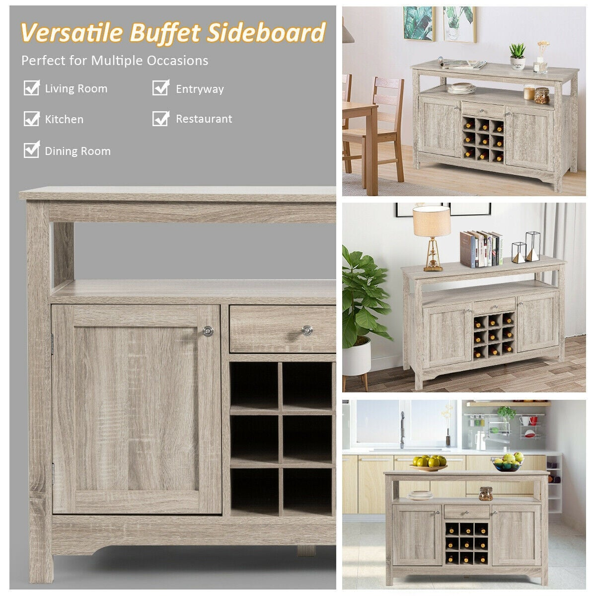 Shop Black Friday Deals On Buffet Server Sideboard Wine Cabinet Console Overstock 30732386