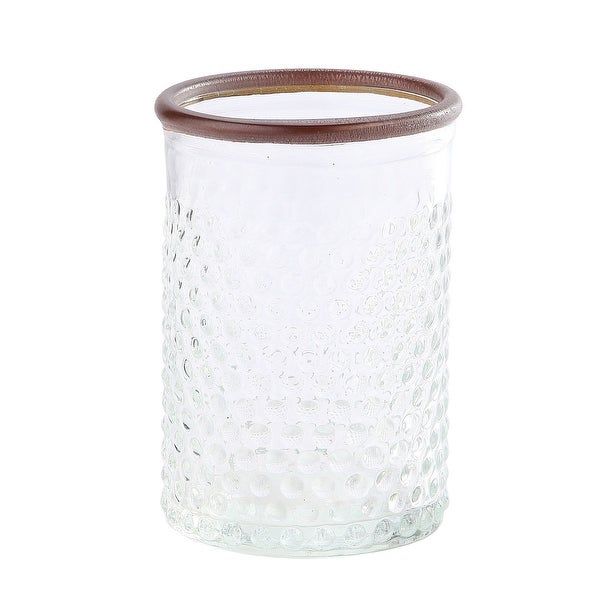 """6.5"""" Clear and Brown Textured Dot Pattern Cylindrical Glass Vase with Rim Leather - N/A"""