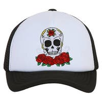 Candy Skull and Roses Black Trucker Mesh Snapback
