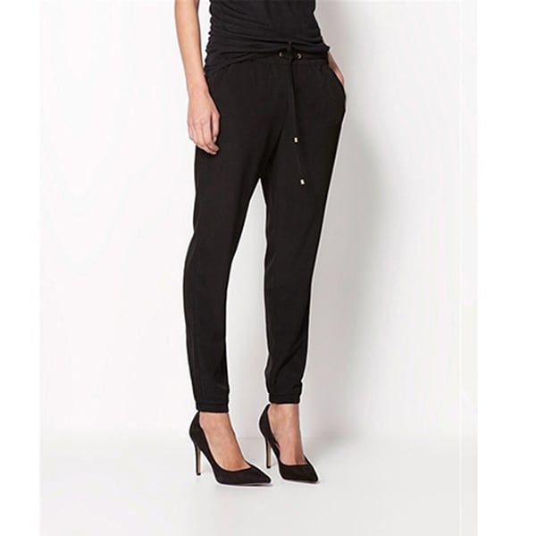 Women Fashion Casual Chffion Pants Solid Color Elastic Waist Full Length Trousers. Opens flyout.
