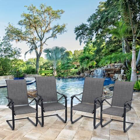 PHI VILLA 4-piece C Spring Patio Sling Metal Armchairs