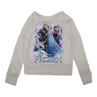 Disney Little Girls Bone White Frozen Character Print Long Sleeve Sweater 5-16