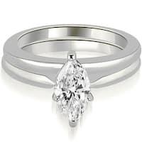 0.50 cttw. 14K White Gold Classic Solitaire Marquise Cut Diamond Bridal Set