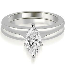 0.75 cttw. 14K White Gold Classic Solitaire Marquise Cut Diamond Bridal Set