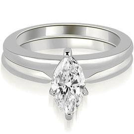 1.00 cttw. 14K White Gold Classic Solitaire Marquise Cut Diamond Bridal Set