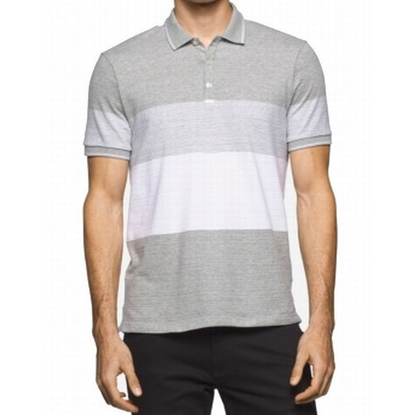 0bb6e70f Shop Calvin Klein NEW Gray White Mens Size Small S Wide-Striped Polo Shirt  - Free Shipping On Orders Over $45 - Overstock - 19677573