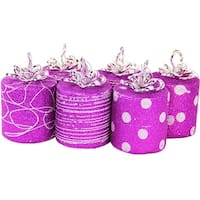 Pack of 6 Rich Plum Purple and Silver Glittered Gift Box Christmas Ornaments