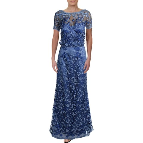 JS Collections Womens Formal Dress Embroidered Floral - Blue