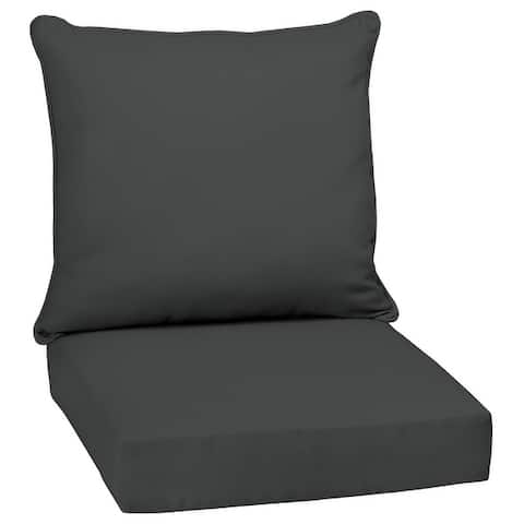 Arden Selections Slate Canvas Outdoor Deep Seat Cushion Set - 24 W x 24 D in.