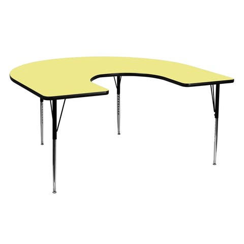 Offex 60''W x 66''L Horseshoe Activity Table with Yellow Thermal Fused Laminate Top and Standard Height Adjustable Legs - N/A
