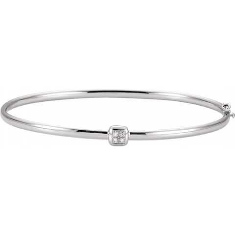 "14K White Gold Diamond Hinged Bangle Bracelet, 6.5"" (0.03cttw)"