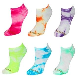 Gold Toe Girl's Tie Die Athletic Liner Socks (6 Pair Pack)