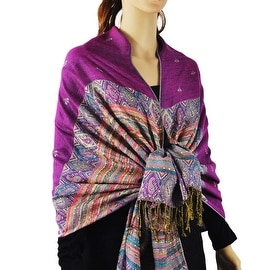 Pashmina Scarves Double Layer with Rainbow Popcorn Stripe