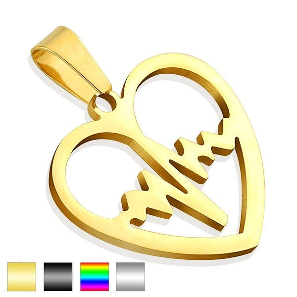 Pulse Line Heart 316L Stainless Steel Pendant (27 mm Width)