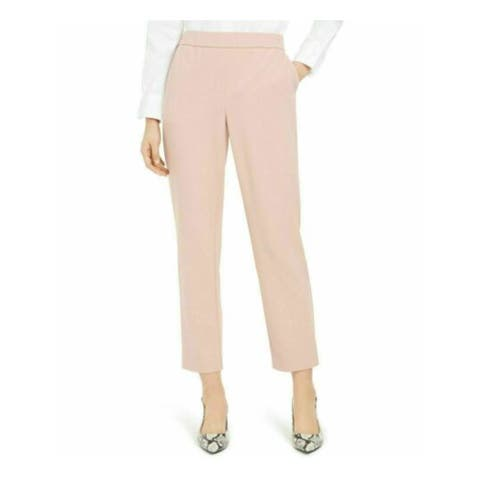 ALFANI Womens Pink Pocketed High Waist Wear To Work Pants Size L