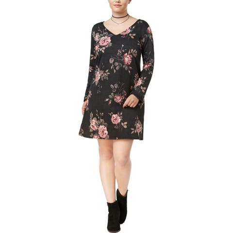 BCX Womens Plus Casual Dress Lace-Up Back Floral Print