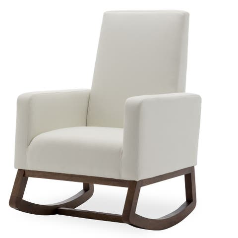 BELLEZE Rocking Chair Upholstered Arm chair Padded Seat, White - standard