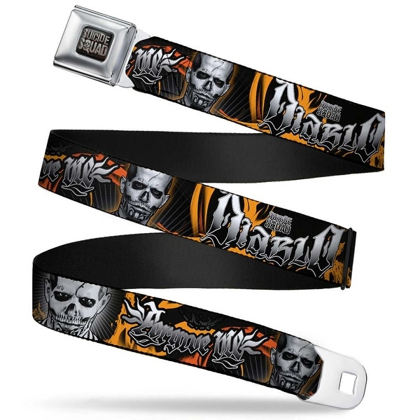Suicide Squad Logo Full Color Black Gray Suicide Squad 2 El Diablo Faces Seatbelt Belt