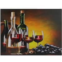 """LED Lighted Flickering Wine, Grapes and Candles Canvas Wall Art 11.75"""" x 15.75"""" - YELLOW"""