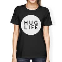 Hug Life Women's Black T-shirt Short Sleeve Simple Graphic Shirt
