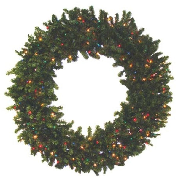 8' Pre-Lit Canadian Pine Commercial Size Artificial Christmas Wreath - Multi-Color Lights