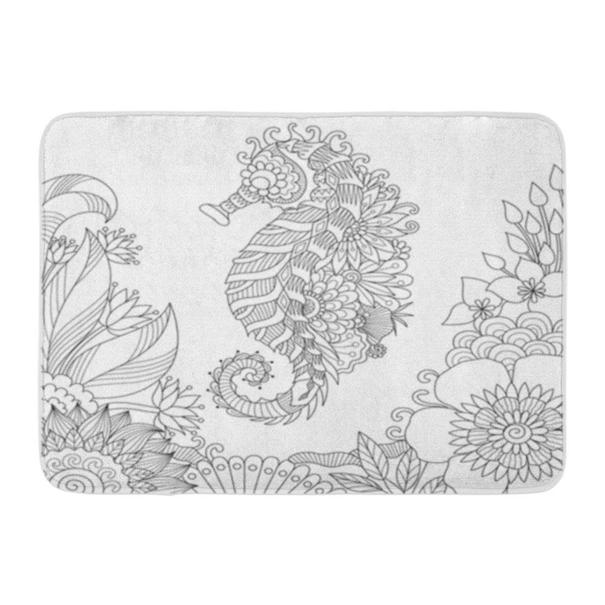Shop Beautiful Sea Horse Swimming Among Corals For Coloring Book Page Doormat Floor Rug Bath Mat 23 6x15 7 Inch Multi On Sale Overstock 31780868