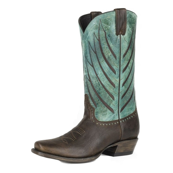 Stetson Western Boots Mens Wing Tips Turquoise