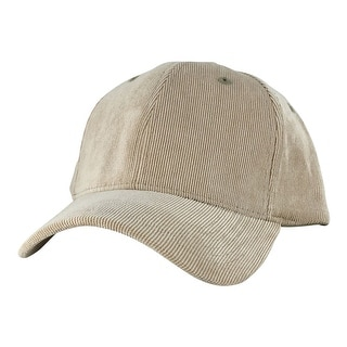Corduroy Mid Crown Curved Visor Velcro Adjustable Cap Hat - Khaki