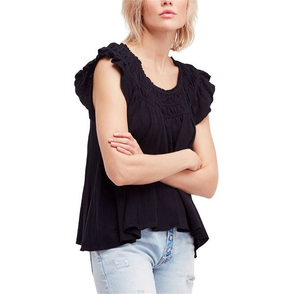 Free People Womens Coconut Gathered Basic T-Shirt. Opens flyout.