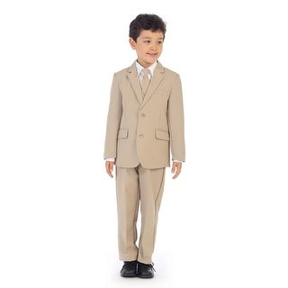 Angels Garment Little Boys Khaki Jacket Pants Vest Tie Shirt Handsome Suit
