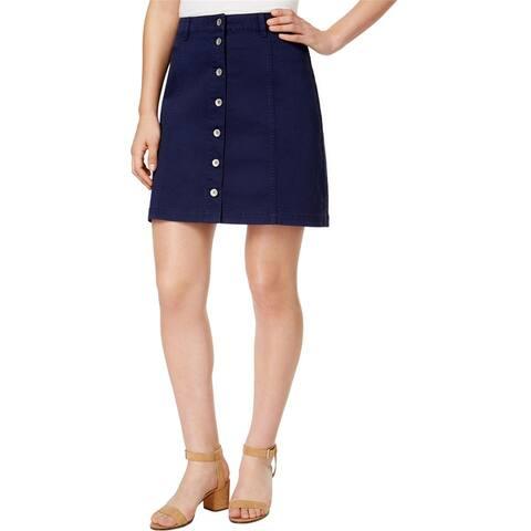 G.H. Bass & Co. Womens Button-Front A-Line Skirt
