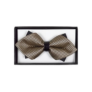 Men's Brown Geometric Diamond Tip Bow Tie - DBB3030-24