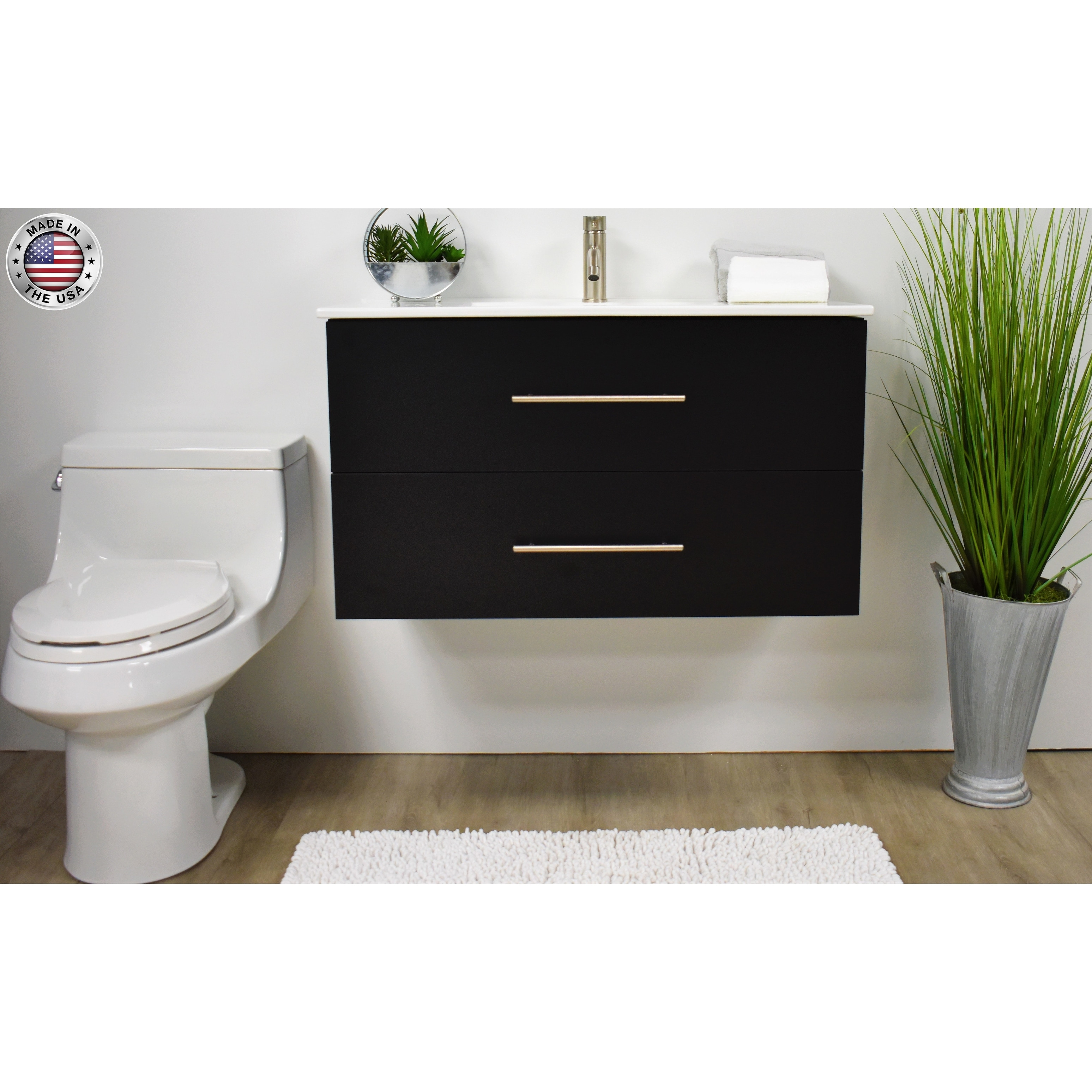 Volpa Usa Napa 30 Inch Black Wall Mounted Floating Bathroom Vanity Set Overstock 32207295