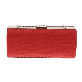 Scheilan Red Fabric Weave Box Clutch/Shoulder Bag