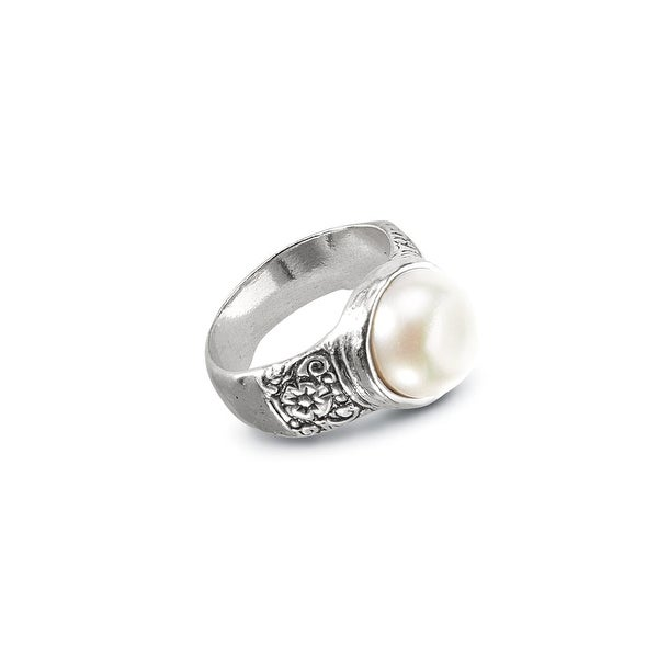 Women's Pearl Bezel-Set Sterling Silver Ring