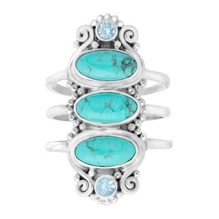 Sajen Natural Turquoise & Blue Topaz Knuckle Ring in Sterling Silver - Green