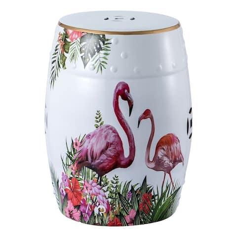 """Panbado 18"""" Flamingo Decorative Garden Stool Side Table"""